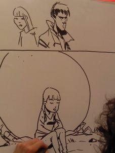 Gema e Gentìo Lodel (personaggi tratti dal fumetto) e Gema seduta ai piedi della Lapide disegnati dal talentuoso Fabio Cioffi.
